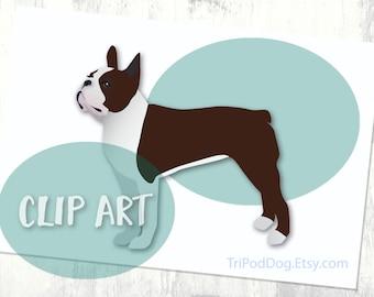Brown Boston Terrier Basic Breed Silhouette Clip Art
