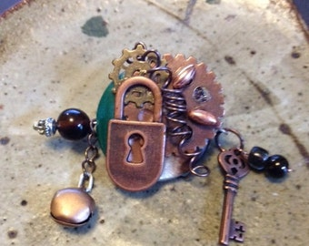 Steampunk pin, one of a kind,