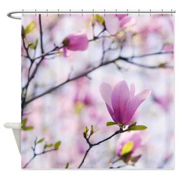 Magnolia Shower Curtain Pastel Botanical Pink Flower Photo
