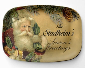 Personalized Christmas Platter, Melamine Santa Serving Platter, Santa Claus Melamine Platter, Personalized Christmas Serving Tray