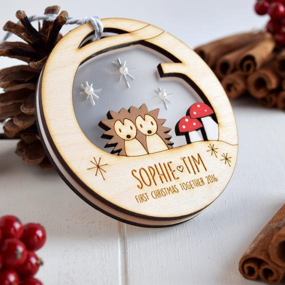 Couple's First Christmas bauble - Cute couple bauble - Hedgehogs - Tree decoration