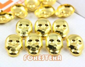 25Pcs 16mm Gold Skull Studs Metal Studs (JSK16)