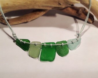 Sea Glass Necklace, 5 Piece Sea Greens, Crescent
