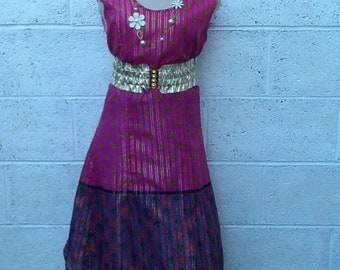 Statement, Indian fabric, 60s style vintage dress