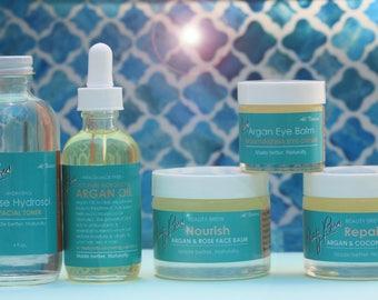 Beauty Brew Argan Oil Collection Gift Set.  Nourish & Repair Face Balm, Eye Balm, Argan Oil, Hydrosol Toner. For All Skin Types.