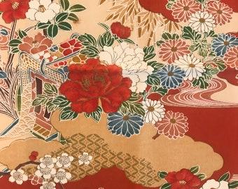 Red and pink kimono cloth (Piece 1)