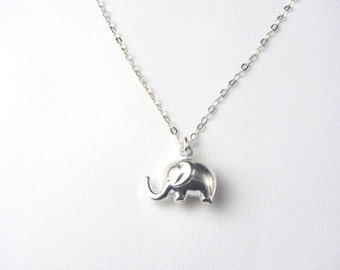 Tiny Elephant Necklace, Sterling Silver