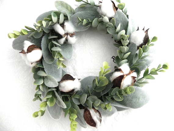 Mini Wreath, Farmhouse Wreath, Eucalyptus, Lambs Ear and Cotton, Handmade Wreath, Fixer Upper, Farmhouse Decor, Wall Decor,
