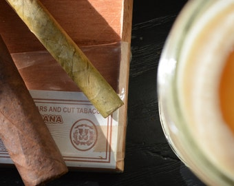Tobacco & Cedar Hand-Poured Soy Wood Wick Candle // Gifts for Men // Man Cave // Cigar Smelling