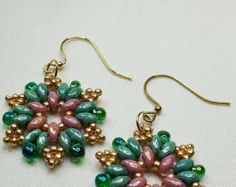 Luster Earrings, Pink&Green Earrings Dangle Earring