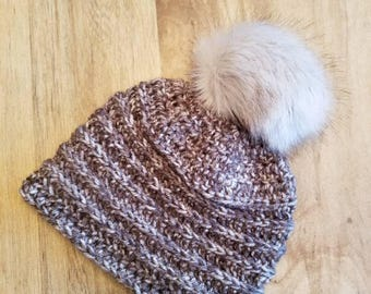 Crocheted Beanie with Pompom - Baby: 3-6 months