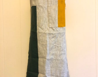 Color block Linen Sleeveless Shift Dress, Size M/L, Vintage (W)
