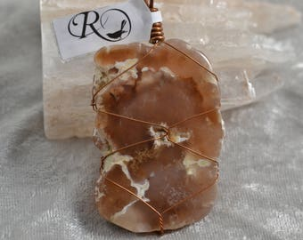 Texas Spring Petrified Wood Agate Healing Wire Wrapped Pendant
