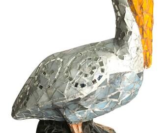 Mosaic Pelican Garden Sculpture