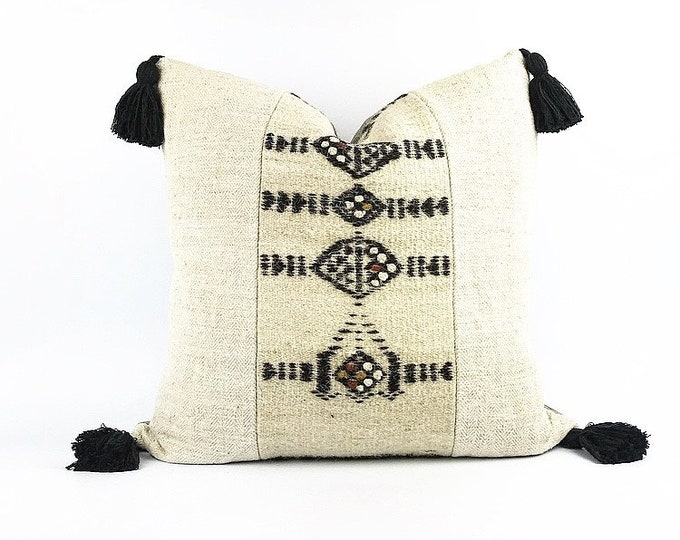 Antique French Herringbone Linen And Vintage African Wool Fulani Textile Tassel Pillow Cover 20x20