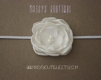 Ivory Flower Girl Headband/Newborn Headband/ Baby Headband/ Wedding Headband/ Photoprop