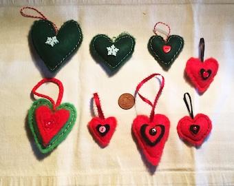 8 felt heart decorations Christmas Scandicraft