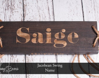 Tree Swing Engraved Name OR Date Jacobean Tree Swing