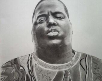The Notorious B.I.G. Original pencil drawing A2, Biggie Smalls portrait, Realistic pencil and charcoal drawing,