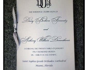 Wedding programs, ceremony programs, silver wedding programs