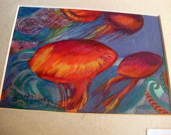 original art  drawing 8x10 orange jelly fish
