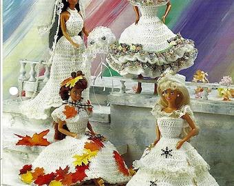 """Four Seasons 11 1/2"""" Doll Crochet Pattern Annies Fashion Doll Crochet Club FC33-04"""