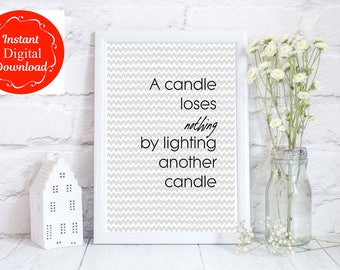 INSTANT DOWNLOAD, positive prints, positive quotes, candle quote, candle printable wall art, kindness digital print, downloadable art,