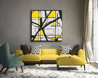 Black, White and Yellow Abstract Canvas Painting