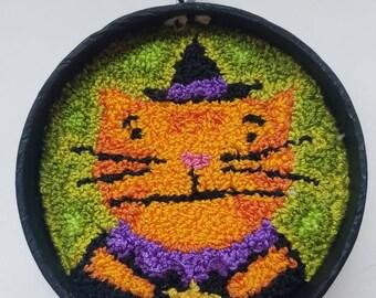 halloween...ornament...original punch needle...orange kitty witch