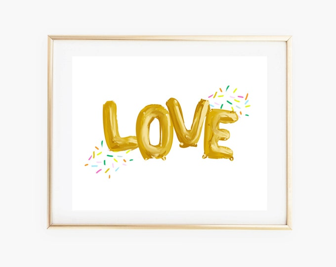 Confetti Love Wall Art Print, Gold Balloon Letter Decor, 8x10 Love Art Print, Home Office Dorm Decor, Girl Nursery Decor, Love Nursery Print
