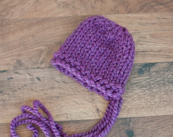 Ready-to-ship Cozy Newborn Bonnet- Purple