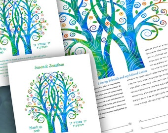 Ketubah Gift Set - Double Tree Embrace in Blue with Parent Set