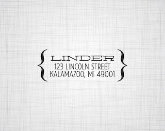 Parentheses Personalized Address Stamp, Wedding Return Address Stamp, Custom Address Stamp, Self Inking Stamp, Rubber Stamper