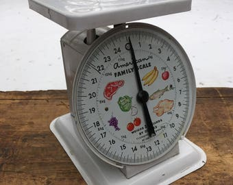 American Family Scale White Vintage Kitchen Scale Farmhouse Decor Vintage Country Kitchen