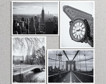 New York City Print Set, NYC Skyline, Flatiron Building, Bow Bridge, Brooklyn Bridge, Black and White - Travel Photography, Wall Art