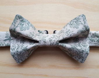 Faded green damask bowtie
