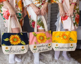 Sunflower Tote Bags, Bridesmaids Tote bags, Bridesmaids gifts, Bridal Party gift, Wedding Tote Bags, Monogrammed Tote Bag, Bridesmaids Totes