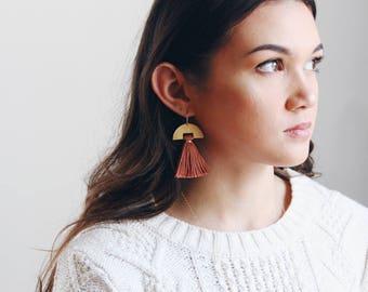 Half Moon Tassel Earrings   Half Moon Earrings   Pink Earrings   Statement Earrings   Tassel Jewelry   Fringe Earrings   Fringe Jewelry