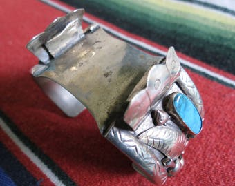 American Indian Turquoise Watch Bracelet - 1940's Man's Silver Cuff