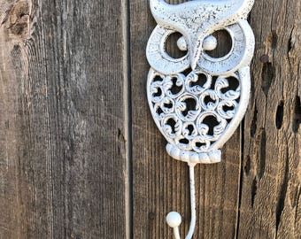Owl Hook Hand Painted Cast Iron Wall Mount Coat Hooks, Bathroom Towel Owl Hanger, Coat Hooks, Purse Hooks, Item #535508447