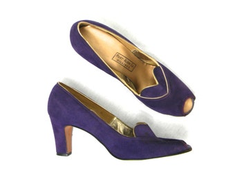 40s Purple Suede Pumps  | Peep Toe Heels | Hart-Albin Co.