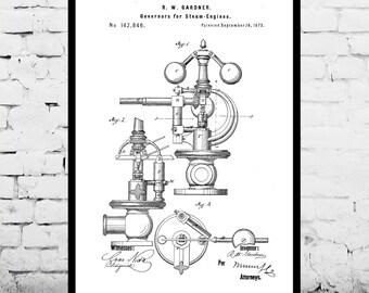 Steam Engine Patent, Steam Engine Poster, Steam Engine Blueprint,  Steam Engine Print, Steam Engine Art, Steam Engine Decor