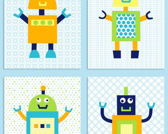 Robot Nursery Art, Baby Boy Decor, Nursery Wall Art, Robot Decor, Robot Nursery Prints, Silly Robot Decor, Baby Shower Gift, Spaceman Decor