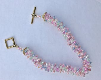 Pastel Beaded Bracelet, Easter Bracelet, Spring Bracelet, Multi Color Bracelet, Easter Jewelry, Pastel Jewelry, Easter Holiday Gift