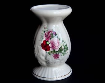 "Vintage Maryleigh Pottery ""Summertime"" Pedestal Stand ~ Handcrafted Staffordshire England Pottery Pink & Red Roses ~ English Country Cottage"
