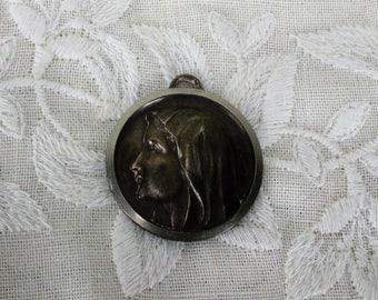 Vintage Medallion Notre Dame de Lourdes French Pendant Catholic Collector