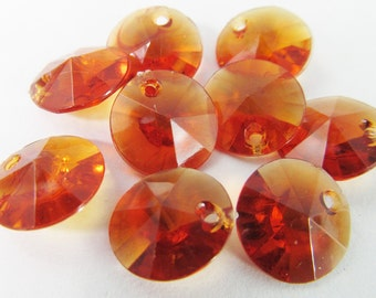 50 Vintage 12mm Faceted Tortoise Amber Brown Charms Drops Pendants Pd785