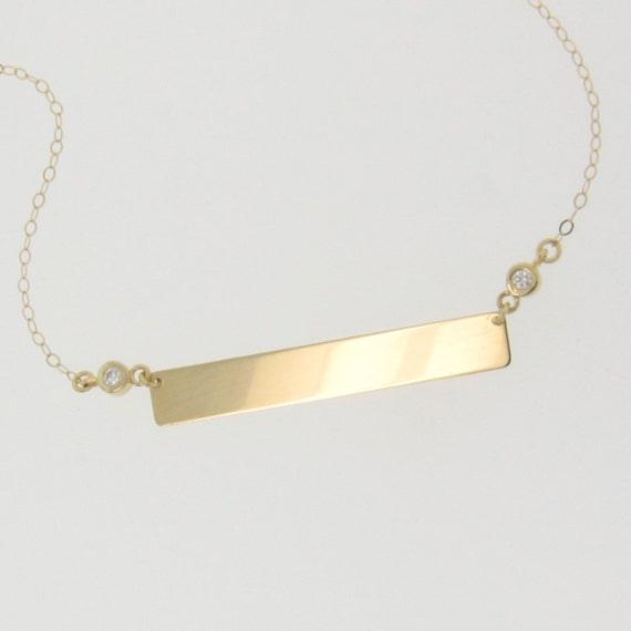 items similar to diamond nameplate necklace gold bar. Black Bedroom Furniture Sets. Home Design Ideas