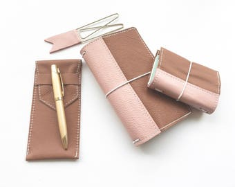 Travelers Notebook - Brown with Pink Reinforced Binding - Genuine Leather - 6 Sizes