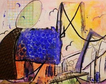 Whimsical Folk Art - Big Bridge Lil Houses 8x10 Original Mixed Media Painting on Canvas Panel